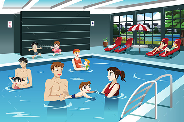 Parents and Babies Swimming - Sports/Activity Conceptual