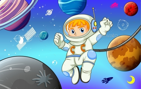 Astronaut with Planets in Space - People Characters