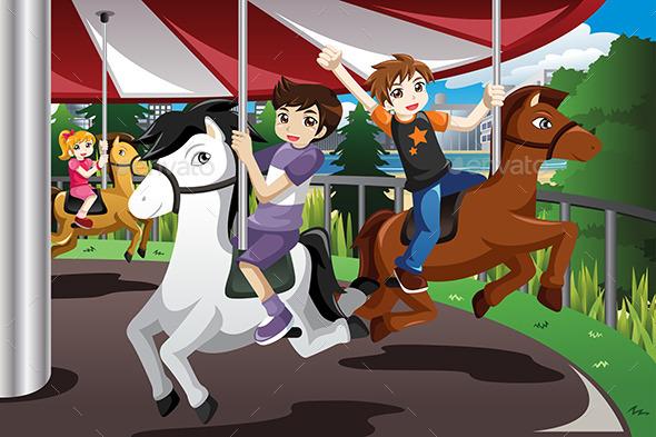 Kids Riding on Merry Go Round