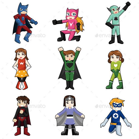 Kids Wearing Superheroes Costume - People Characters