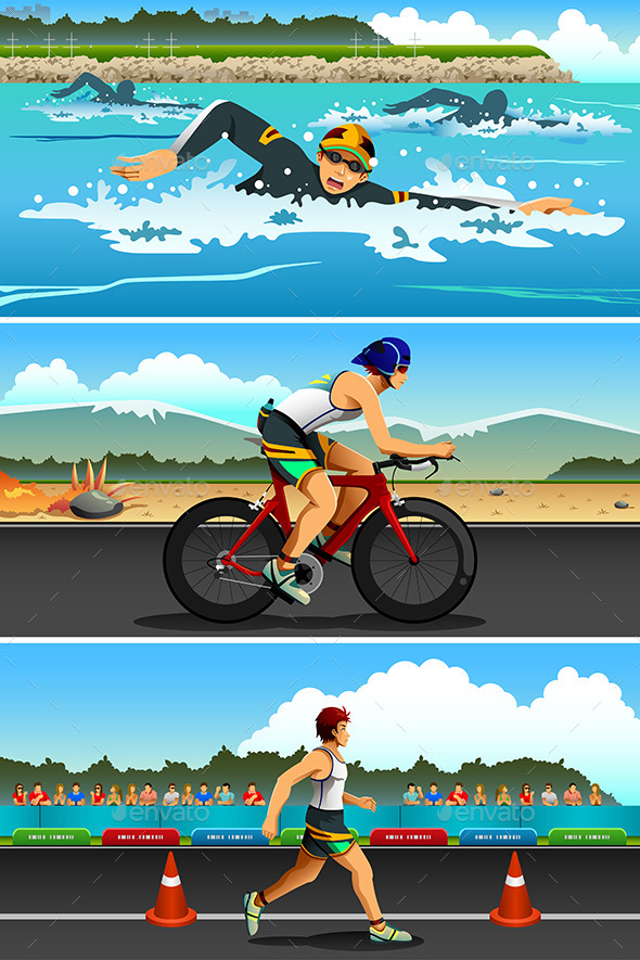 Triathlon Sport - Sports/Activity Conceptual