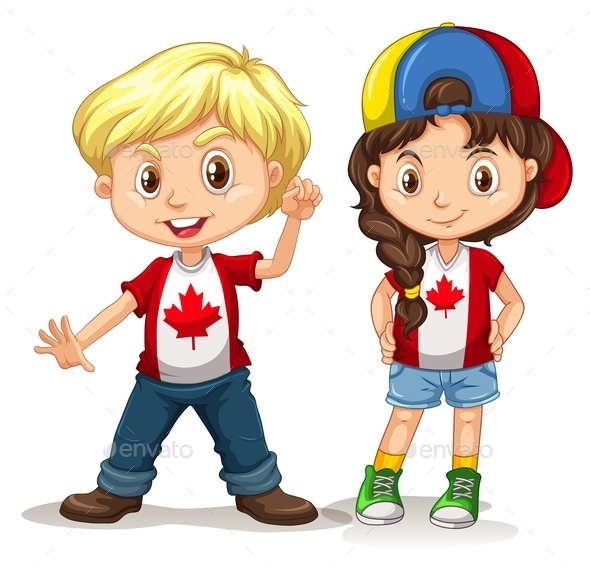 Canadian Boy and Girl Smiling - People Characters