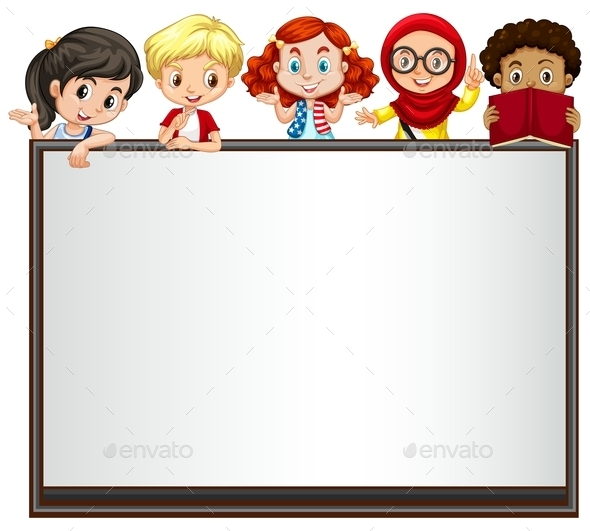 International Children on Whiteboard - People Characters