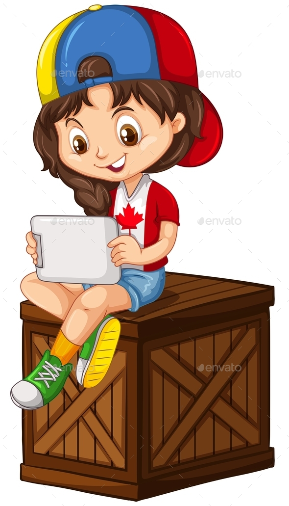 Little Girl Playing on Tablet