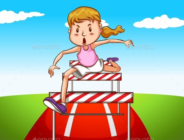 Girl Jumping Hurdles on Track - People Characters