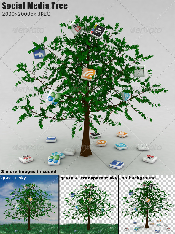 Social Media Tree - 3D Backgrounds