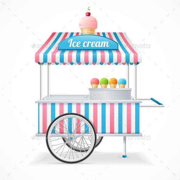 Ice Cream Cart Market Card Vector