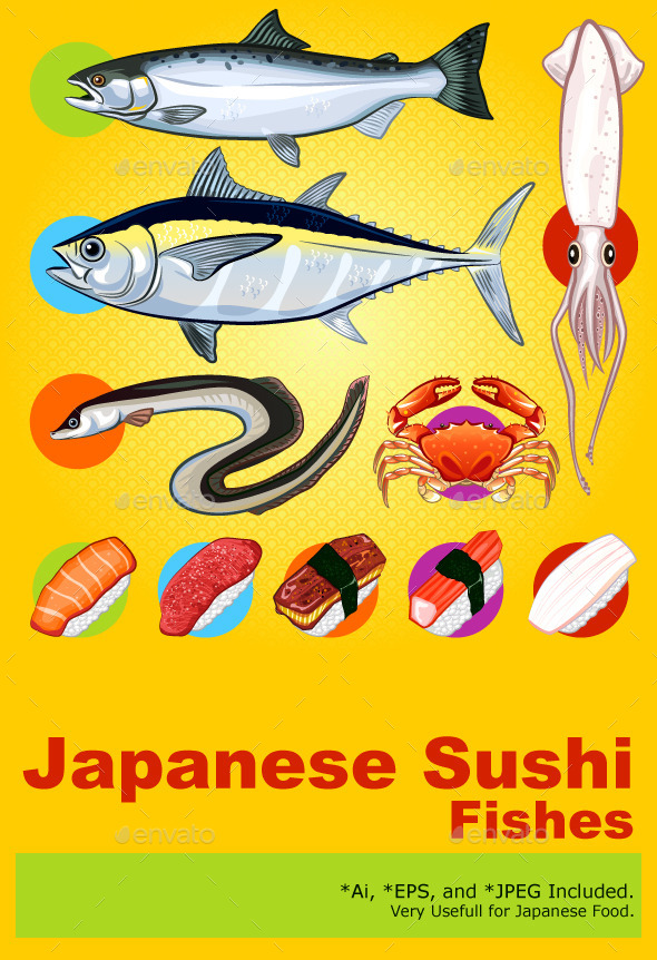 Japanese Sushi Fishes Sashimi - Food Objects
