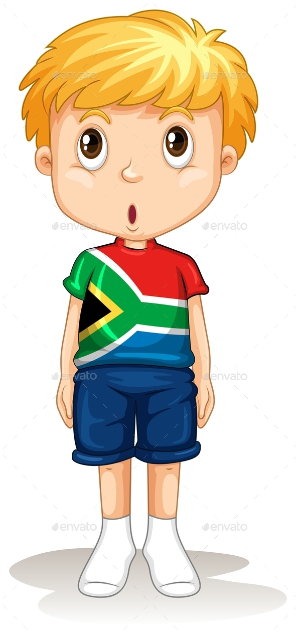 South African Boy Standing Straight - People Characters