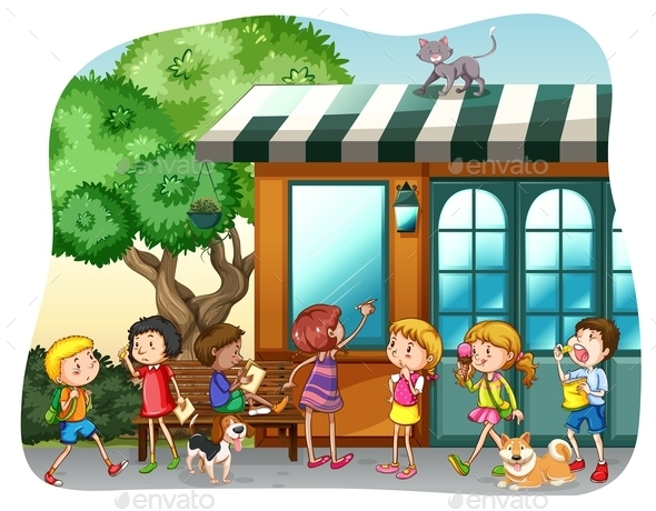 Children and Shop - People Characters