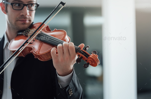 Talented violinist solo performance - Stock Photo - Images