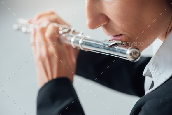 Professional flutist solo player - Stock Photo - Images