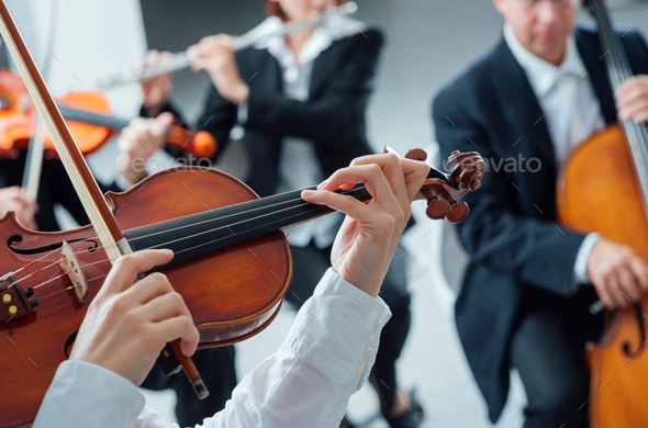 Classical orchestra string section performing - Stock Photo - Images