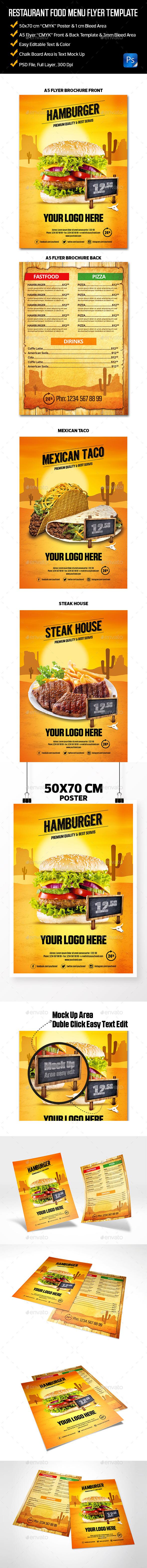 Restaurant Food Menu Flyer Template - Food Menus Print Templates