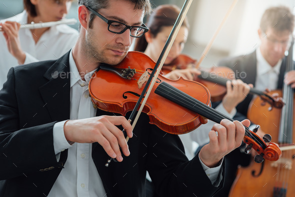 Orchestra string section performing - Stock Photo - Images