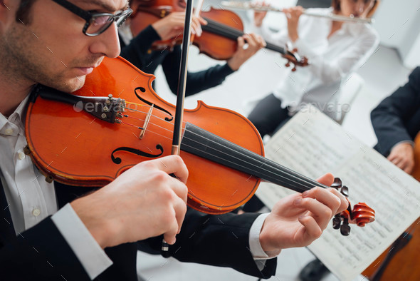 Violinist performing with music sheet - Stock Photo - Images