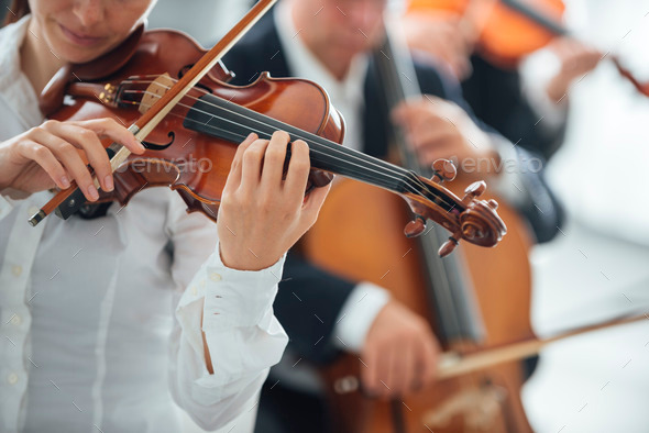 Violinist performing with orchestra - Stock Photo - Images