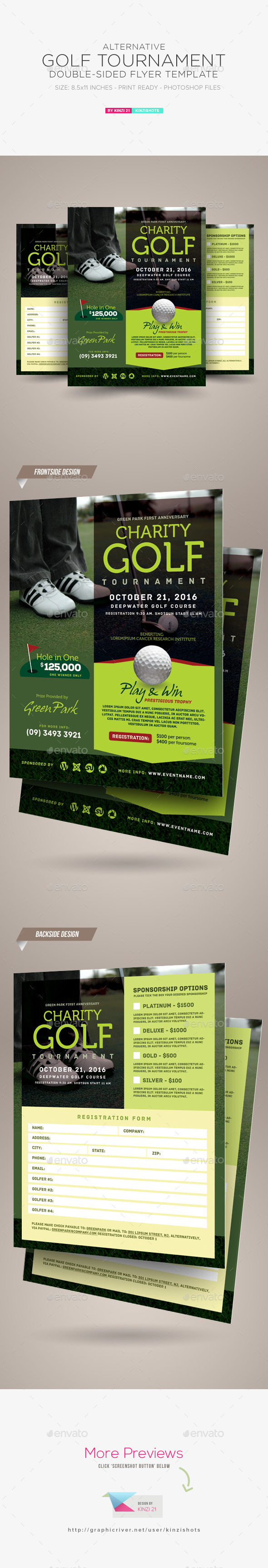 Golf tournament double sided flyer by kinzishots for Double sided brochure template