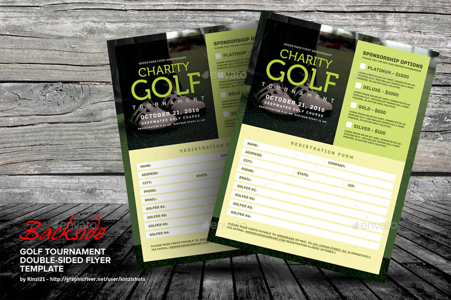 Golf Tournament Double-Sided Flyer By Kinzishots | Graphicriver