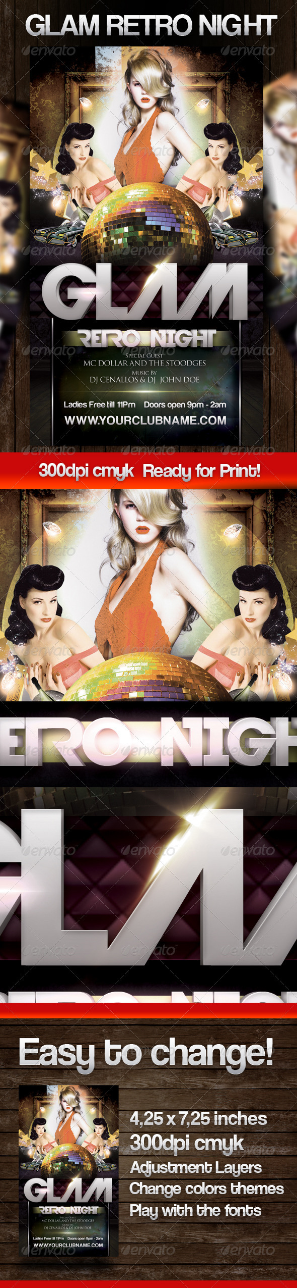 GLAM Retro Party Flyer - Clubs & Parties Events