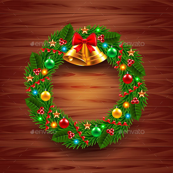 Christmas Wreath on Wooden Background - Christmas Seasons/Holidays