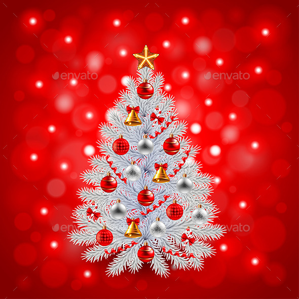 White Decorated Christmas Tree on Red Background