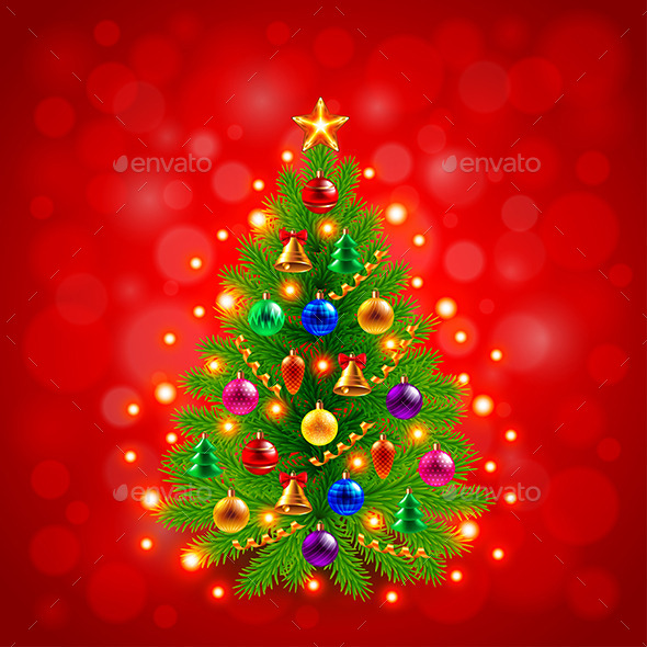 Green Decorated Christmas Tree on Red Background - Christmas Seasons/Holidays