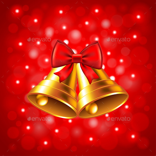 Christmas Bells on Red Background - Christmas Seasons/Holidays