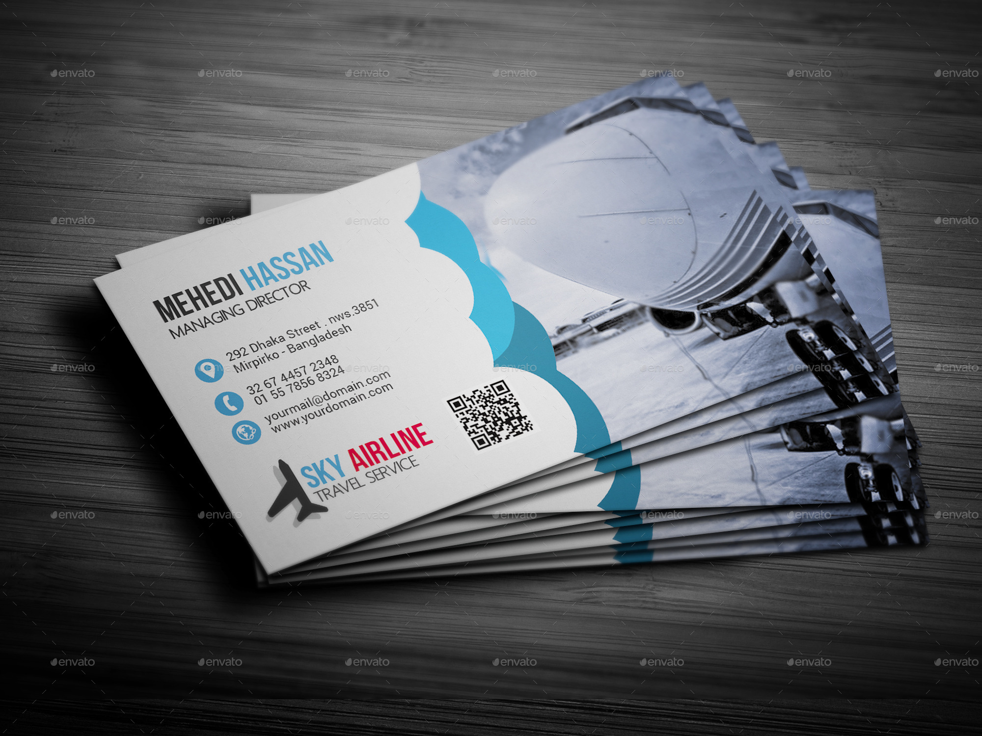 air agency business card by mehedi hassan