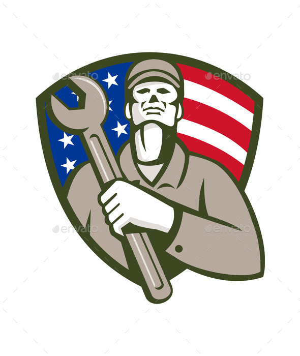 Mechanic Holding Wrench USA Flag Shield Retro - People Characters