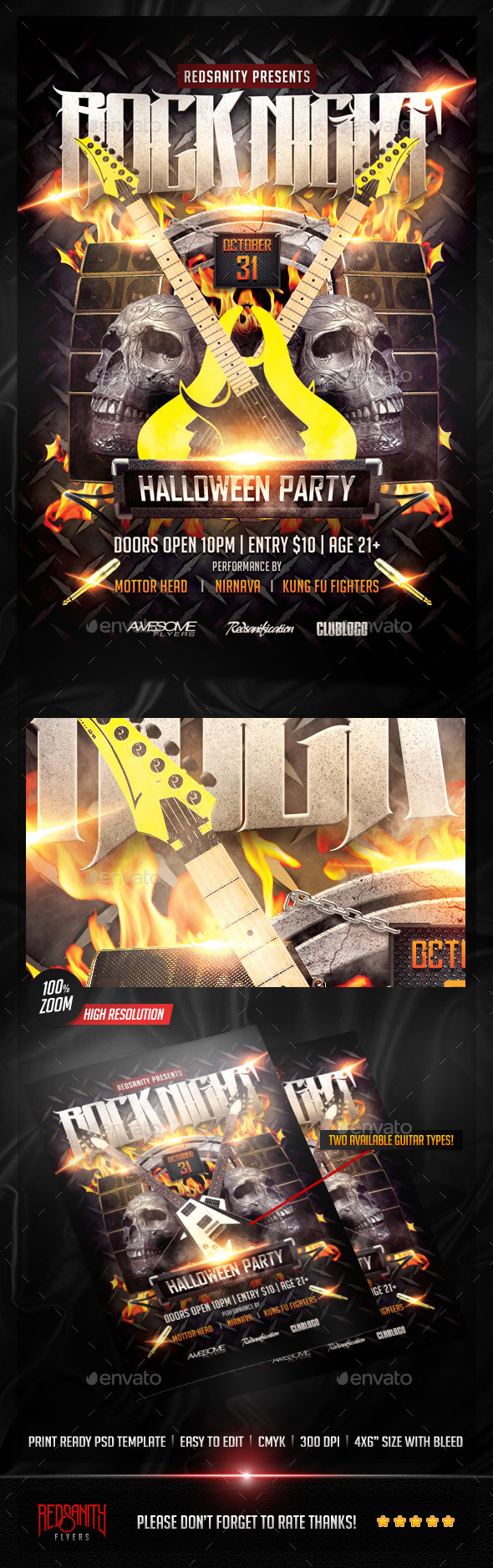 Rock Night Halloween Party Flyer - Clubs & Parties Events
