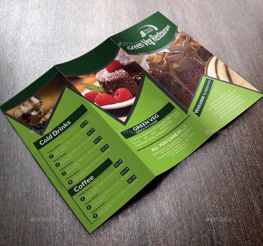 food menu trifold brochure by sbanna71 graphicriver