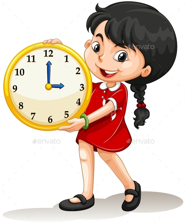 Girl Holding Yellow Clock - People Characters
