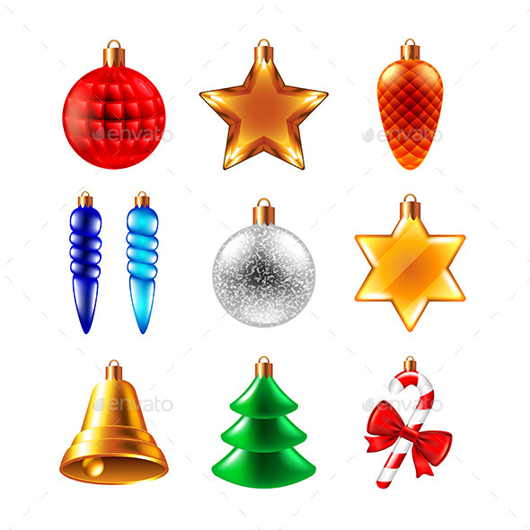 Christmas Balls Different Forms Vector Set - Christmas Seasons/Holidays