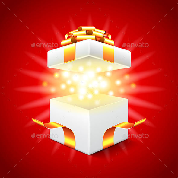 Opened Gift Box on Red Background Vector - Christmas Seasons/Holidays