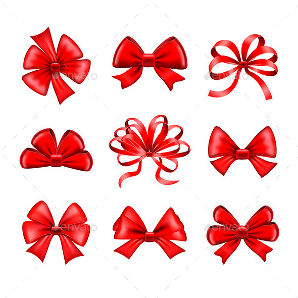 Red Bows Vector Set - Christmas Seasons/Holidays