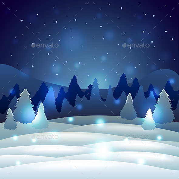 Christmas Winter Scenery with Snowy Nature Vector  - Christmas Seasons/Holidays