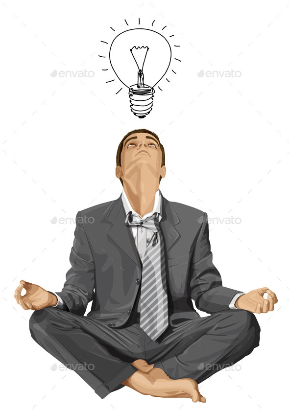 Businessman in Lotus Pose Meditating - People Characters