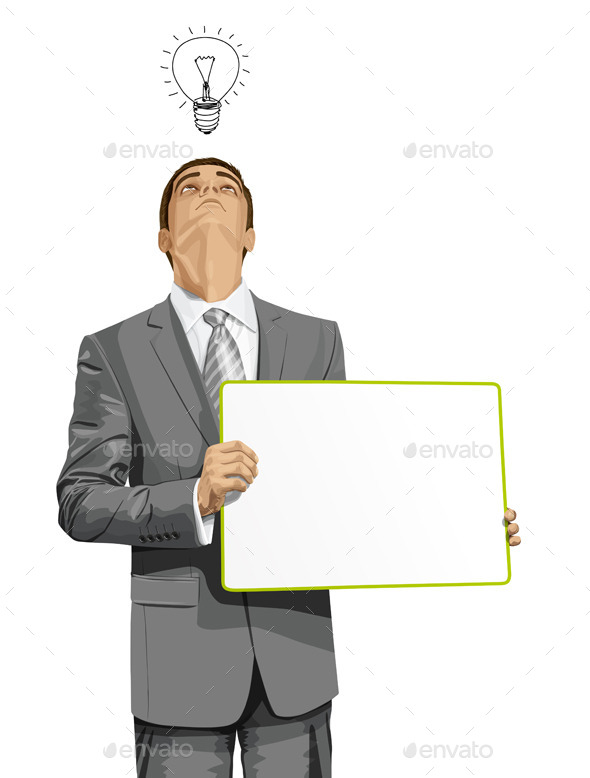Business Man with Empty Write Board - People Characters