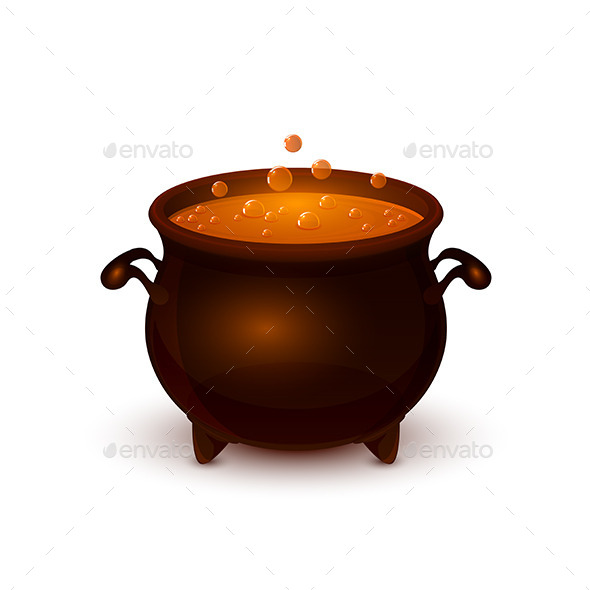 Halloween Pot with Potion and Bubble - Halloween Seasons/Holidays