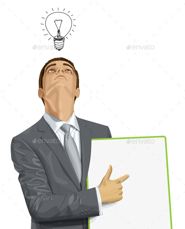 Businessman with Empty White Board - People Characters
