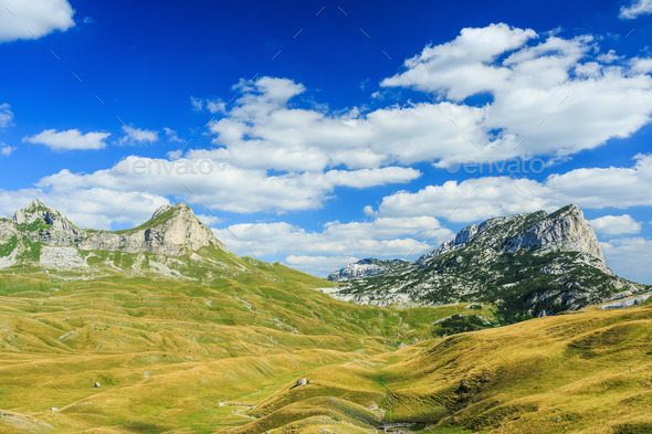 Mountains in the national park Durmitor in Montenegro, Balkans. - Stock Photo - Images