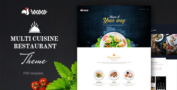 Rococo| Multipurpose Restaurant  PSD Template - Food Retail