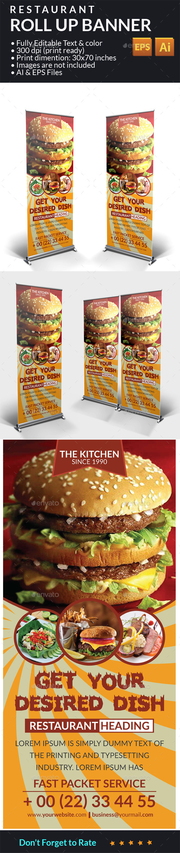 Restaurant Food Roll Up Banner - Signage Print Templates