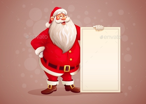 Merry Santa Claus Standing with Christmas
