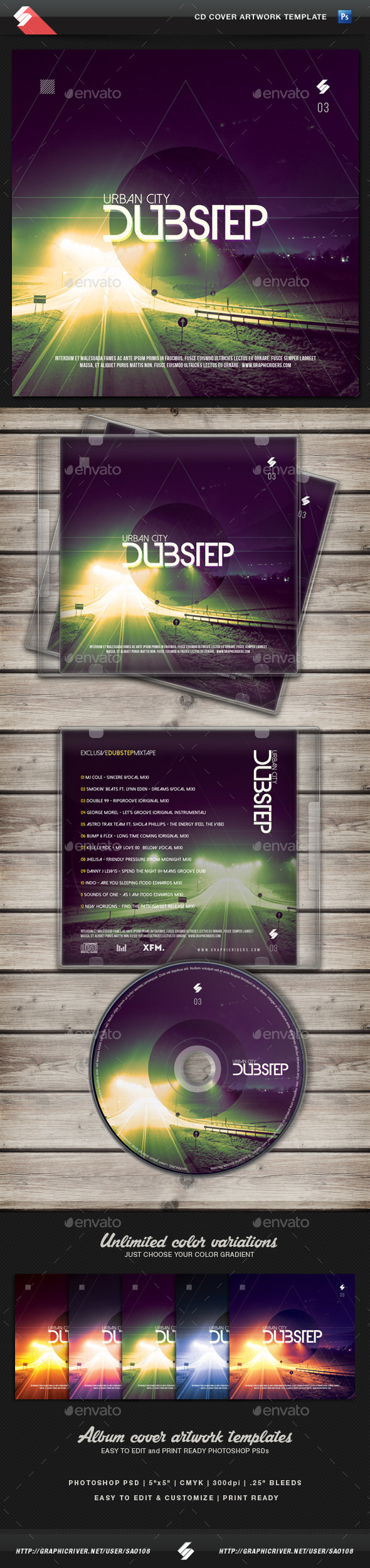 cd case artwork template - urban city dubstep vol 3 cd cover template by sao108