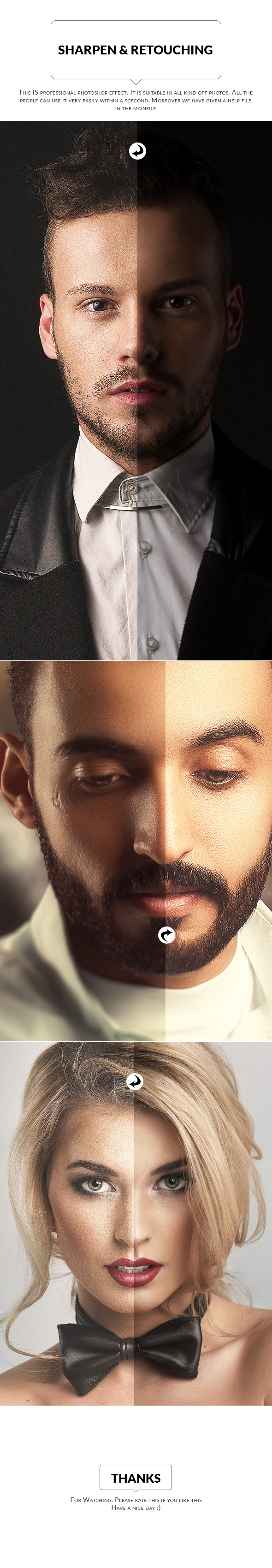 Sharpen And Retouch Skin - Photo Effects Actions