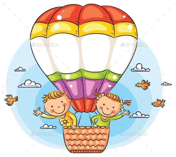 Cartoon Kids Travelling By Air With Copy Space - People Characters