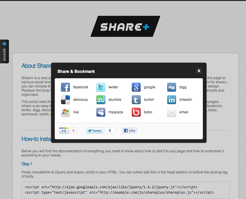 Share+ : The most awesome way to share your site