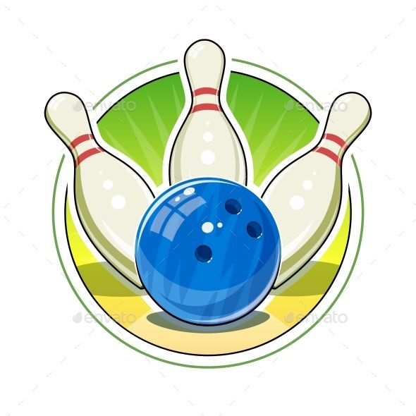 Bowling Ball and Skittles for Game - Sports/Activity Conceptual